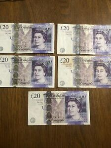 20 X 5, Travel Money Great Britain Banknotes. 100 Pounds Free Shipping!
