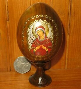 Wood egg Icon of Our Lady Abate the Sorrow Softener of Evil Hearts Russian
