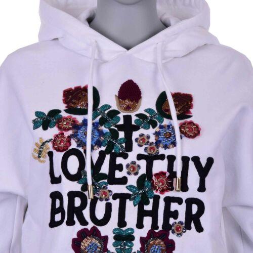 DSQUARED 2 DSQUARED Love Sweatshirt Hoody Sweater avec des fleurs broderie blanc 07237