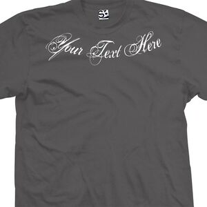 Custom distressed script neck t shirt personalized for Custom t shirts distressed