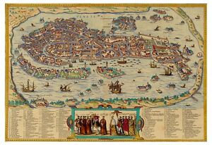 Venice-Veneto-Italy-bird-039-s-eye-view-map-Braun-Hogenberg-ca-1572