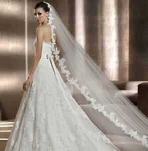 White-Ivory-Wedding-Veil-3m-Long-Comb-Lace-Mantilla-Cathedral-Bridal-Veils