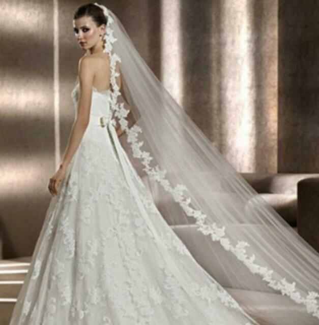 White/Ivory Wedding Veil 3m Long Comb Lace Mantilla Cathedral Bridal Veils TG068