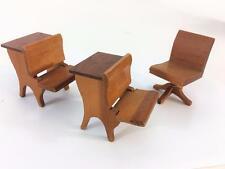 Dollhouse Miniature Strombecker Wood 1940s School Room Lot 3 Desk Swivel Chair