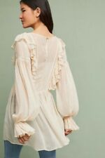 bd2fc1df378 Anthropologie Maeve Wynne Boho Metallic Stripe Cream Ruffle Blouse ...