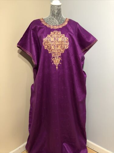 Womens Ethnic African maxi Dress Purple Embroidere
