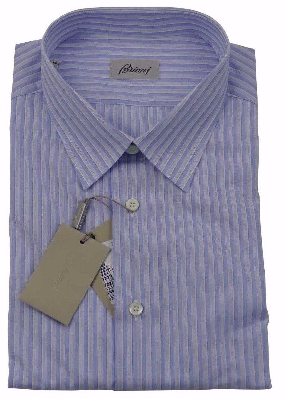 Brioni Uomo H S BLU Striscia di Cotone Artigianale Camicia Nuova con Etichetta