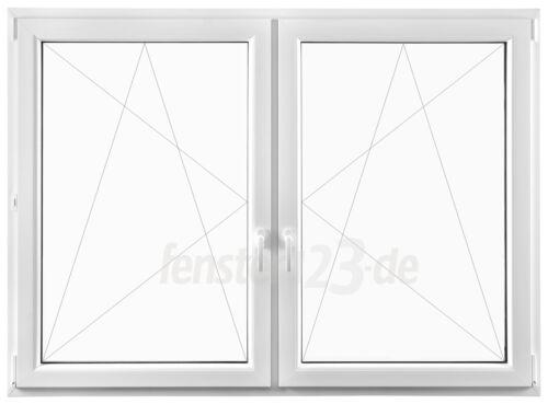 2-flügeliges Kunststofffenster Breite 1300mm alle Höhen zum dreh /&kippen Pfosten