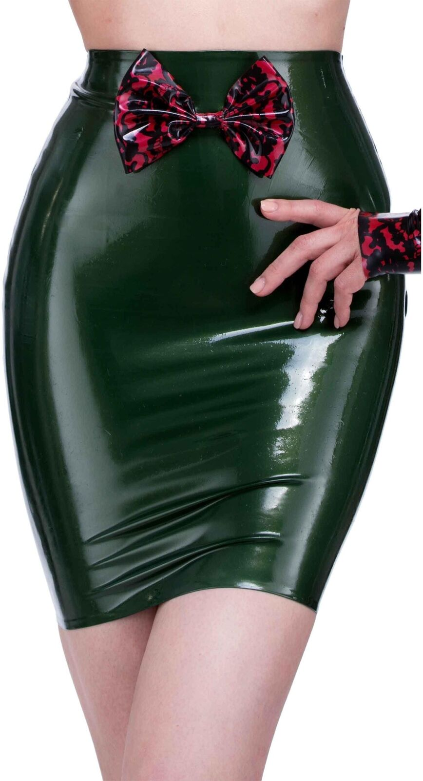 Bordelle-L'Amour Betty Bow Latex Skirt P.S Green with P.S Red Trim