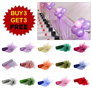 87-FT-environ-26-52-m-Organza-Roll-Tissu-Noel-Mariage-Fete-Decoration-Chaise-Bows-Table-Runner-Sash