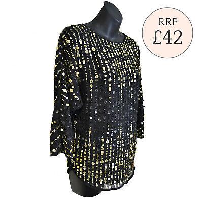 L RRP £42 Ex River Island Black Sequin Embellished Top Size XS