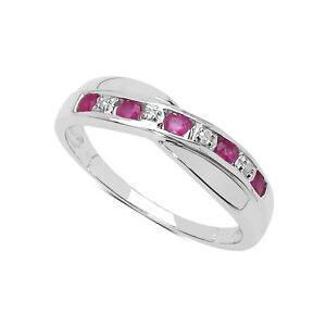 9-CT-Oro-Blanco-0-25-CT-conjunto-de-canal-de-Rubi-y-Diamante-Anillo-de-la-eternidad-todos-los