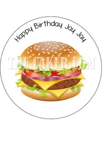Hamburger Burger pre-cut Edible Icing Cake Topper or Ribbon