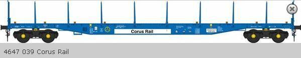 Heljan -0- 5154 Flachwagen Sfpns DB Ep4-5 Corus Rail verwittert Neu