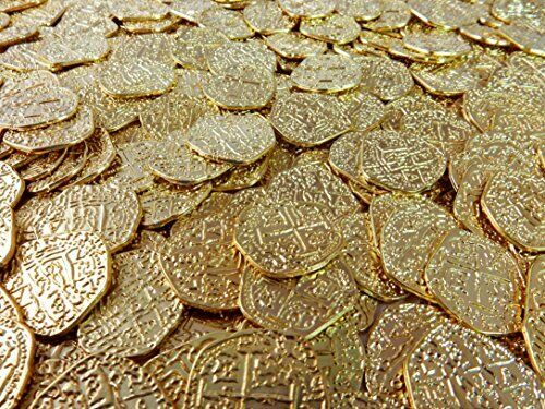 Beverly Oaks Metal Pirate Coins - 50 Gold Spanish Doubloon Replicas - Fantasy Me