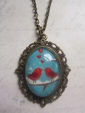 Handmade Vintage Bronze Red Love Birds Birdhouse Glass Dome Cameo Necklace New