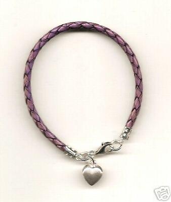 Purple Leather Bracelet /& Sterling Silver Heart Charm