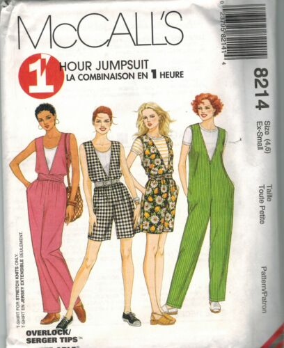 8214 McCalls SEWING Pattern Misses 1 HOUR EASY Jumpsuit Pants Shorts UNCUT OOP