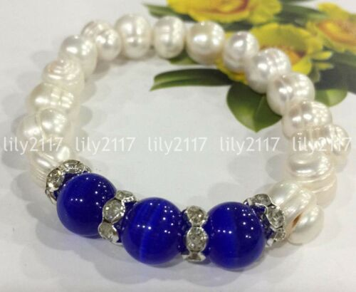 "9-10 mm blanc Akoya Culture Pearl 10 mm Bleu Foncé Opal Élastique Perle Bracelet 7.5/"""