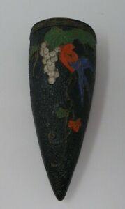 Vintage-Tokanabe-Pottery-Wall-Pocket-Vase-Black-with-Bird-Flowers-Japan
