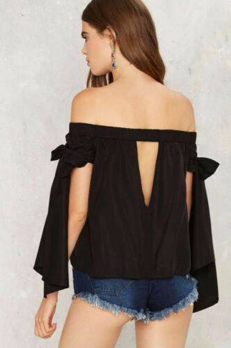 Nasty Gal ecru Lab Born to Tie Off-the-Shoulder Top Size S L Black