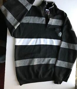 Mens-ONLINE-Asics-Long-Sleeved-Large-Black-White-Gray-Long-Sleeved-Shirt