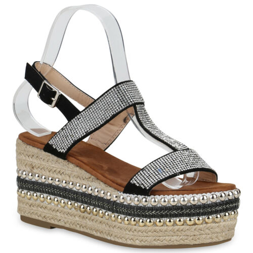 Schuhe Sandaletten Sommer 823121 Keilabsatz Wedges Strass Plateau Damen T0OAZA