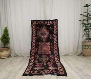 "Antique Moroccan Tribal Handmade Rug 2'8""x7'3"" Abstract Berber Black Wool Carpet"