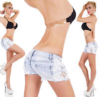 Sexy Summer's Women's Crochet Lace Jeans Hot Pants Denim Shorts Size 6-14