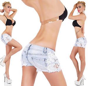 Women-039-s-Hot-Pants-Crochet-Lace-Shorts-Hot-Pants-Summer-Denim-Shorts-Size-6-14