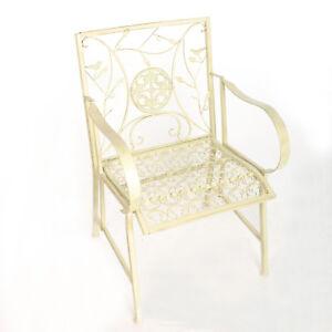 Jardin Fer Chaise Style Ancien Fauteuil Blanc Metal