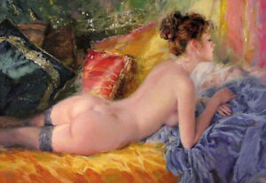 YHLMOP688 portrait nude girl Lying on the bed hand paint art oil painting canvas