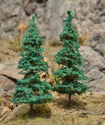 "MOOSE CREEK TREES - Fir Pine Trees (20 pc x 4"" Tall) Conifer Green HO N Z Scales"