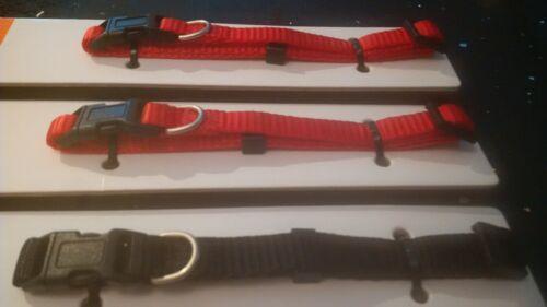 Rojo Negro Plata Anillo en D hebilla de plástico 1 pequeños 25-35.5 correas de nylon Collar de Perro