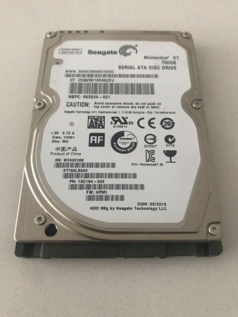 "Seagate 750GB Momentus XT ST750LX003 1AC154-020 FW:HPM1 2.5"" SATA Hard Disk"