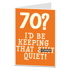 Image Is Loading 70th Birthday Card 70 Today Funny For Him