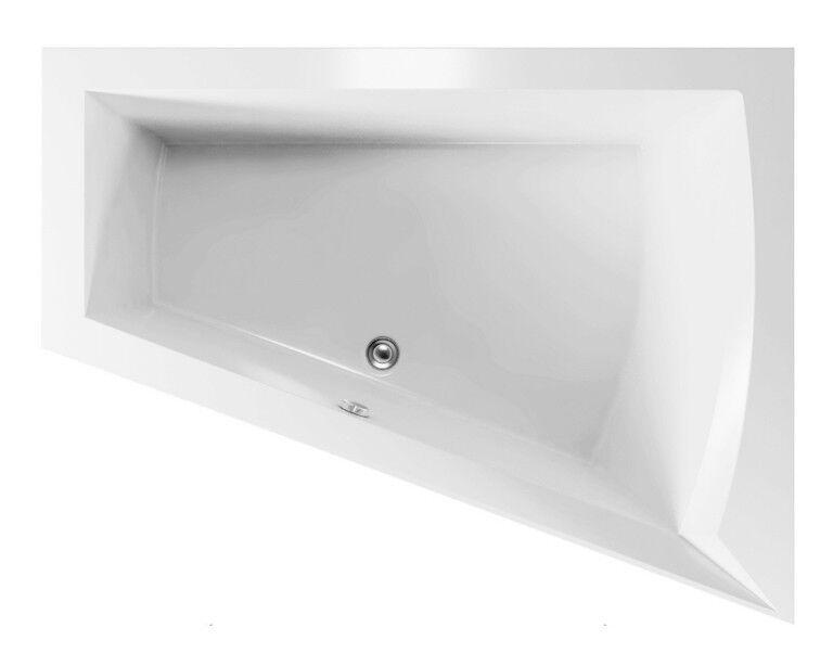 LOGO Trapez Badewanne 170x135x50cm, gegossenes Acryl, inkl. Fuß, Ablaufgarnitur