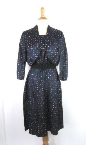 True Vtg 40s 50s Lady Ashton Heart Print Dress & B