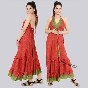 Indian-Up-cycle-Bohemian-Floral-Printed-Magic-Maxi-dress-Holiday-Evening