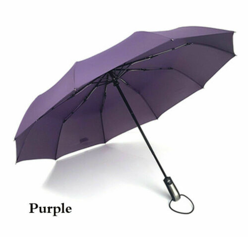10Ribs Large Strong Frame Windproof Three Folding Fully-automatic Umbrellas