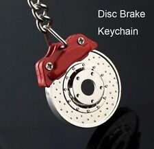 Disc Brake Miniature Revolving Key Ring Chain Alloy Keychain Keyfob Red