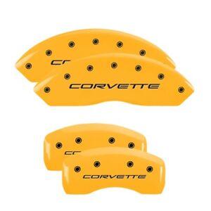 MGP Caliper Covers Yellow, Black Corvette (C5) for 1997-2004 Chevrolet Corvette