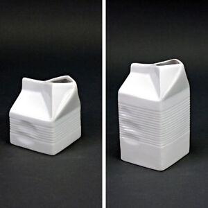 Porzellan-Vorratsgefaess-Milchkaennchen-Milchspender-Milchtuete-Deko-Vase-Weiss