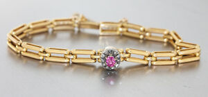 Massives-Armband-Gold-585-mit-Rubin-und-Diamantrauten-Goldarmband-um-1900