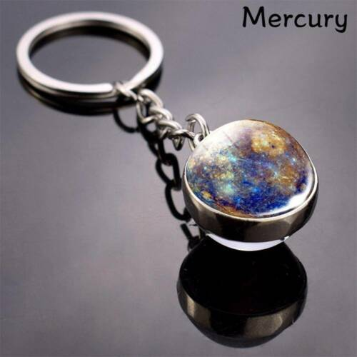 Solar System Planet Keyring Galaxy Nebula Space Keychain Glass Ball Key Chain