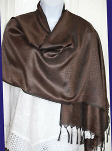Banaras-Silk-Brown-Woven-Floral-Paisley-Design-Shawl-Wrap-Stole-with-Fringes