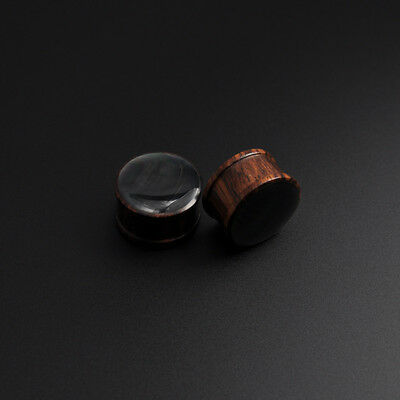 Sono Wood Plug with Black Mother of Pearl Inlay Organic Wooden Ear Stretcher