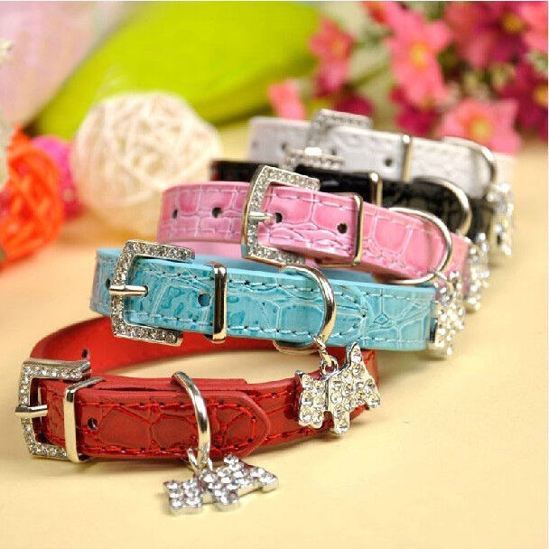 Croc PU Leather Dog Cat Puppy Collars Rhinestone Buckle Puppy Charm Collars