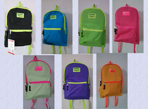 OVEREXPOSED NEON ZIPPER BACKPACK 7 Colors School Pack Day Bag ...