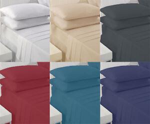 EXTRA-DOUX-Drap-coton-riche-Simple-Double-Super-King-Size-beaucoup-de-couleurs